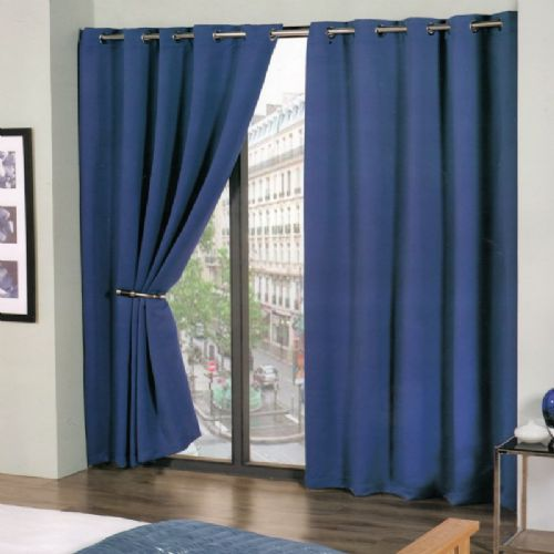 PLAIN BLUE COLOUR READYMADE THERMAL BLACKOUT LIGHT REDUCING EYELET CURTAINS